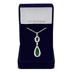 Jon Richard - Clara green cubic zirconia teardrop necklace