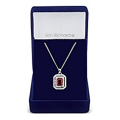 Jon Richard - Red cubic zirconia square surround drop necklace