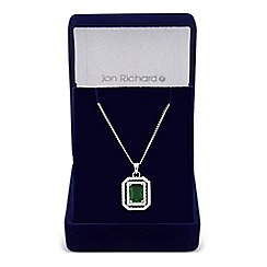 Jon Richard - Green square cubic zirconia surround drop necklace