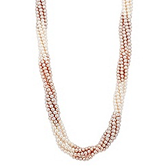 Jon Richard - Two tone blush pearl twist magnetic necklace