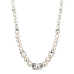 Jon Richard - Graduated cream pearl and silver rondel necklace
