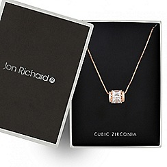 Jon Richard - Rose gold cubic zirconia barrel pendant necklace