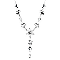 Jon Richard - Crystal flower and navette drop necklace