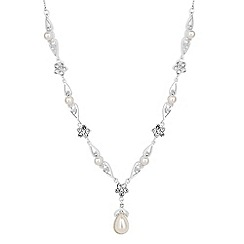 Jon Richard - Isabella crystal flower and pearl drop necklace