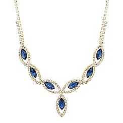 Jon Richard - Blue navette and diamante crystal surround necklace