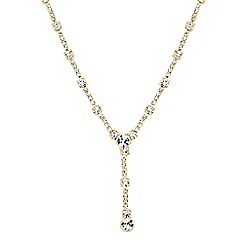 Jon Richard - Gold diamante crystal y drop necklace