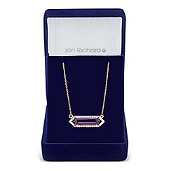 Jon Richard - Purple cubic zirconia baguette surround drop necklace
