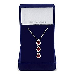Jon Richard - Red cubic zirconia triple peardrop necklace