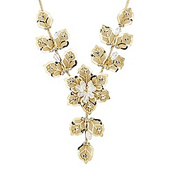 Jon Richard - Gold crystal mesh flower y drop necklace