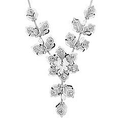 Jon Richard - Silver crystal mesh flower y drop necklace
