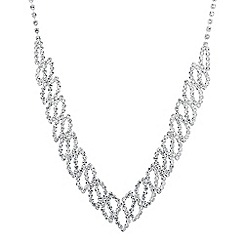 Jon Richard - Diamante crystal swirl drop necklace