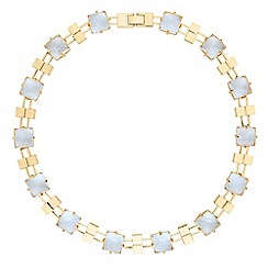 Jon Richard - Square crystal and gold bar necklace