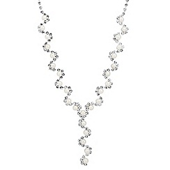 Jon Richard - Pearl and diamante crystal wave drop necklace