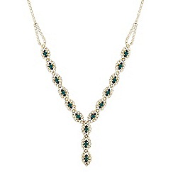 Jon Richard - Green stone and diamante surround 'Y' drop necklace MADE WITH SWAROVSKI CRYSTALS