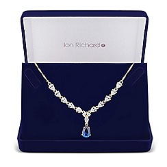 Jon Richard - Blue cubic zirconia peardrop necklace