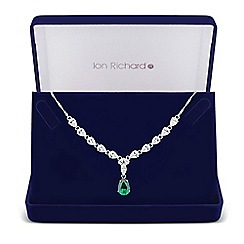 Jon Richard - Green cubic zirconia peardrop necklace