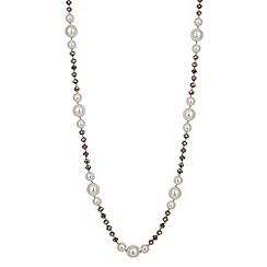 Jon Richard - Long cream pearl and grey facet bead necklace