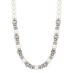 Jon Richard - Pearl and grey facet bead crystal rondel necklace