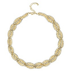 Jon Richard - Diamante crystal and gold ball swirl chain necklace