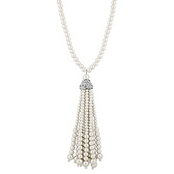 Jon Richard - Long pearl and crystal tassel drop necklace