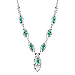 Jon Richard - Green diamante crystal navette necklace