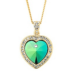 Jon Richard - Green crystal heart pendant MADE WITH SWAROVSKI ELEMENTS