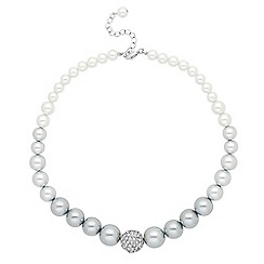 Jon Richard - Grey ombre tonal pearl graduated pearl necklace