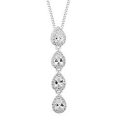 Alan Hannah Devoted - Designer silver cubic zirconia multi peardrop necklace