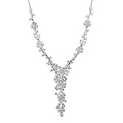Alan Hannah Devoted - Designer silver cubic zirconia floral cluster necklace