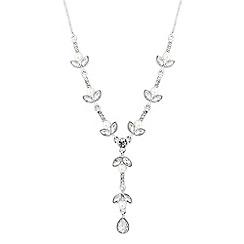 Jon Richard - Silver crystal leaf pearl y necklace