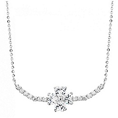Jon Richard - Silver cubic zirconia flower necklace