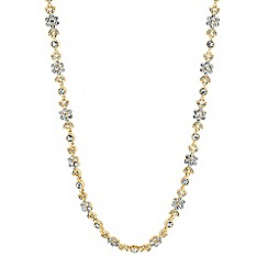 Alan Hannah Devoted - Designer gold leaf and flower crystal necklace
