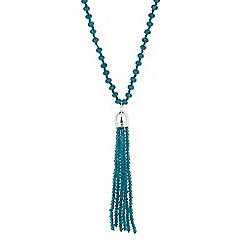 Jon Richard - Teal long pearl and bead tassel necklace