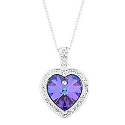 Jon Richard - Purple crystal heart surround drop necklace MADE WITH SWAROVSKI CRYSTALS