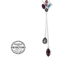 Jon Richard - Pink cluster stone double drop y necklace MADE WITH SWAROVSKI CRYSTALS