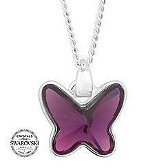 Jon Richard - Lilac crystal butterfly pendant necklace MADE WITH SWAROVSKI CRYSTALS