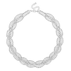 Jon Richard - Silver diamante plait necklace