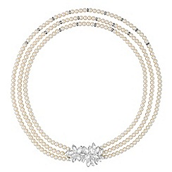 Alan Hannah Devoted - Designer silver crystal cluster triple row pearl necklace