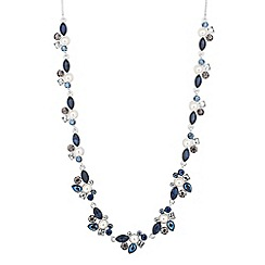 Alan Hannah Devoted - Designer blue crystal and pearl cluster allway necklace