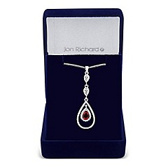 Jon Richard - Allure Collection Red cubic zirconia peardrop triple drop necklace