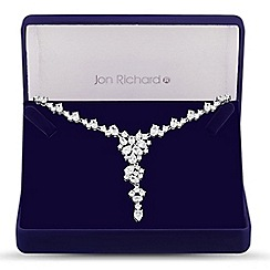 Jon Richard - Allure Collection Silver cubic zirconia cluster leaf statement necklace