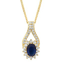 Alan Hannah Devoted - Designer blue crystal surround gold pendant necklace
