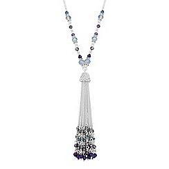 Jon Richard - Purple beaded tassel necklace