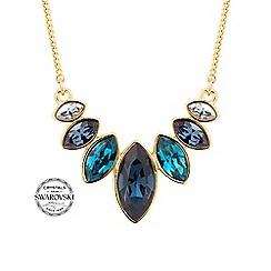 Jon Richard - Gold blue graduated crystal necklace MADE WITH SWAROVSKI CRYSTALS