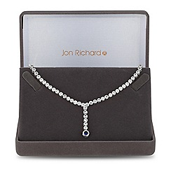 Jon Richard - Blue cubic zirconia circle y drop necklace