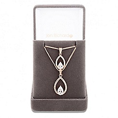 Jon Richard - Lustre Collection Rose gold cubic zirconia double peardrop necklace