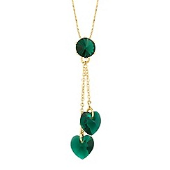 Jon Richard - Green crystal double heart drop necklace MADE WITH SWAROVSKI CRYSTALS