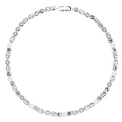 Alan Hannah Devoted - Designer silver graduated crystal and pearl necklace