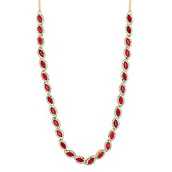 Jon Richard - Red crystal navette gold necklace