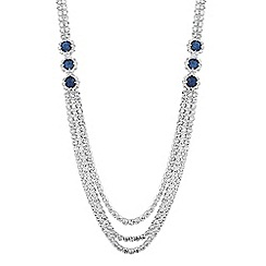 Jon Richard - Blue crystal multirow diamante necklace